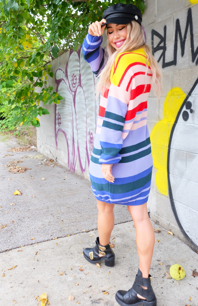 Taste the Rainbow Knitted Sweater Dress