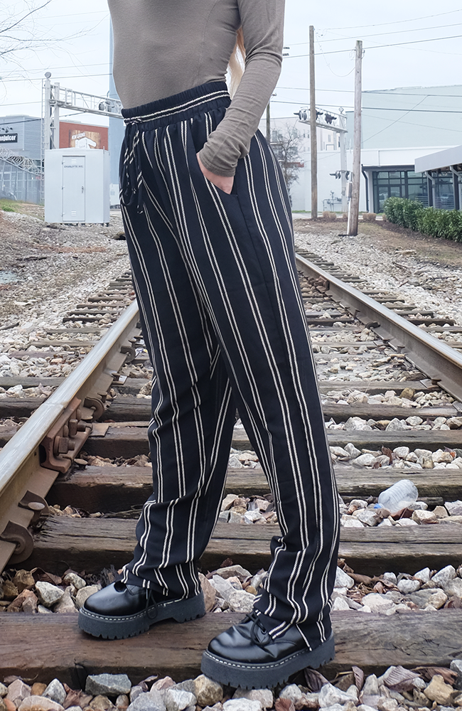 Uncoded Era Walk the Line Striped Pants, up close