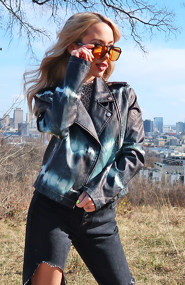 Yin and Yang Tie Dye Vegan Leather Jacket