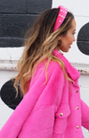 Uncoded Era Fashion Boutique - You Go Pearl Velvet Headband, hot pink velvet headband with pearl details