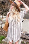 Uncoded Era - Unfinished Business Striped Shirt Dress, front close image