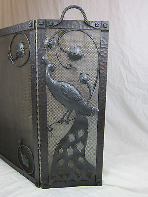 mission style batchelder peacock wrought iron fireplace screen