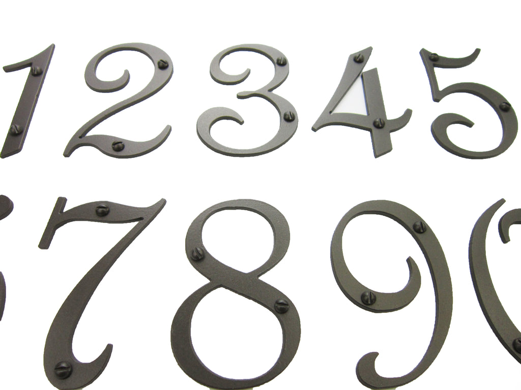 Classic Spanish Style Vertical Iron Address Plaque 4 number APVS14 - Bushere & Son Iron Studio Inc.
