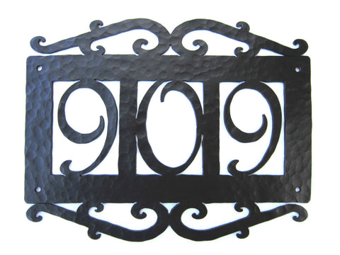 Spanish Mediterranean Rustic Hammered Wrought Iron Address House Numbers AN