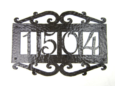 Rustic Hammered Iron Address Plaque Horizontal APH22 (2number)