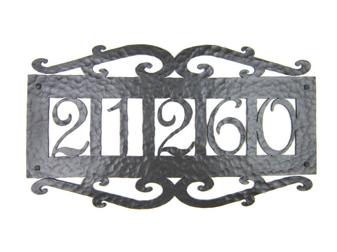 Spanish Mediterranean Custom Hammered Wrought Iron Address Plaque APH14