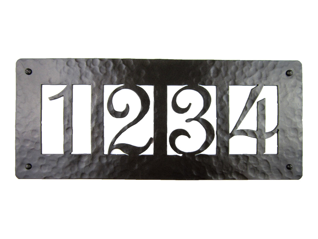 Rustic Custom Hammered Wrought Iron Address Plaque Horizontal APH24 (4number)