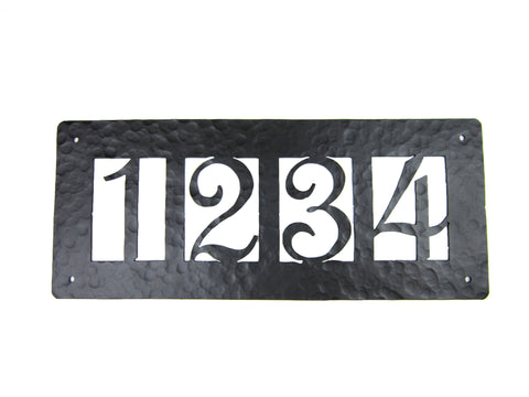 Classic Spanish Style Horizontal Wrought Iron Address Plaque Standard 3 Number APHS13