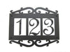 Classic Spanish Style Horizontal Wrought Iron Address Plaque Standard 3 Number APHS13 - Bushere & Son Iron Studio Inc.