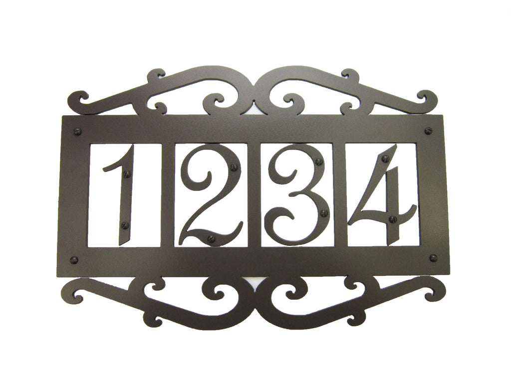Classic Spanish Style Horizontal Wrought Iron Address Plaque Standard 4 Number APHS14 - Bushere & Son Iron Studio Inc.