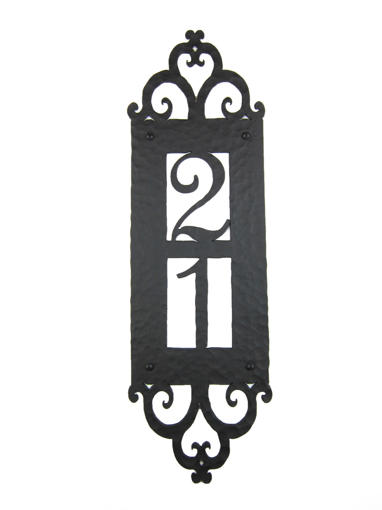 Spanish Style Hammered Iron Vertical Address Plaque 2 number APV12