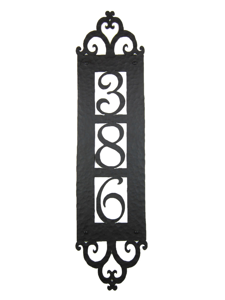Spanish Style Hammered Iron Vertical Address Plaque 3 number APV13