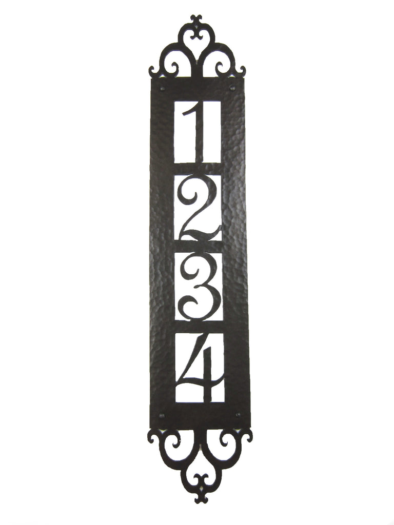 Spanish Style Hammered Iron Vertical Address Plaque 4 number APV14 - Bushere & Son Iron Studio Inc.