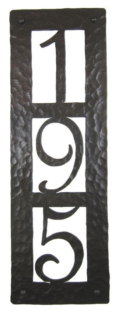 Rustic Custom Hammered Wrought Iron Address Plaque Vertical APV23 (3number)