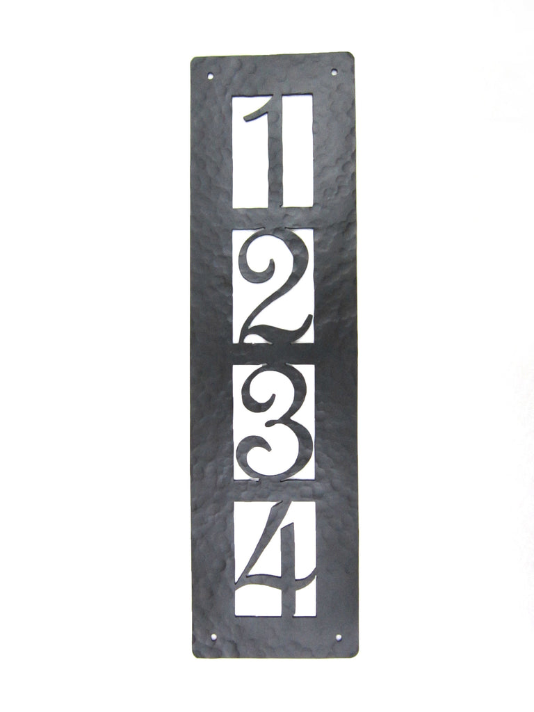 Rustic Custom Hammered Wrought Iron Address Plaque Vertical APV24 (4number)