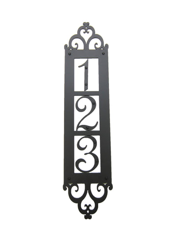 Classic Spanish Style Horizontal Wrought Iron Address Plaque Standard 4 Number APHS14