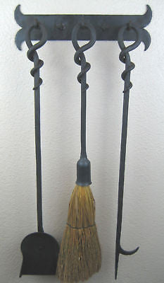 lodge style wrought iron fire tool set w/ bracket
