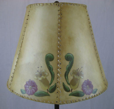 floral hand painted rawhide goatskin lamp shade - Bushere & Son Iron Studio Inc.