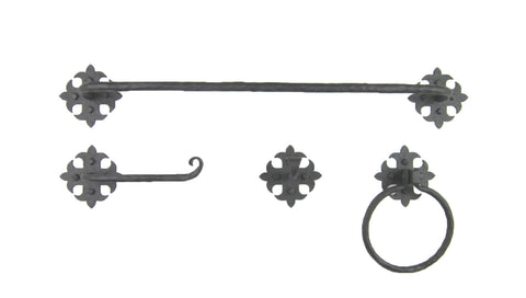 "BHTB4 Rustic Spanish Spade Wrought Iron Towel Bar 12"",18"",24"" or 30"""