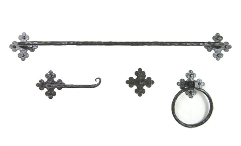Rustic Spanish Flame Wrought Iron Bathroom Hardware Set BHC3