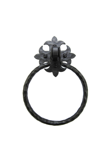 Rustic Spanish Spade Hammered Iron Open Towel Ring BHR44