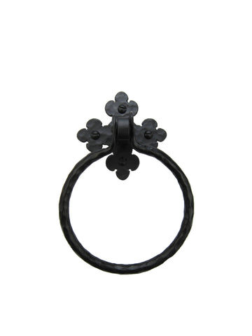 Rustic Farmhouse Hammered Iron Open Towel Ring BHR55