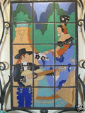 San Jose tile Spanish serenade mural in hand forged wrought iron