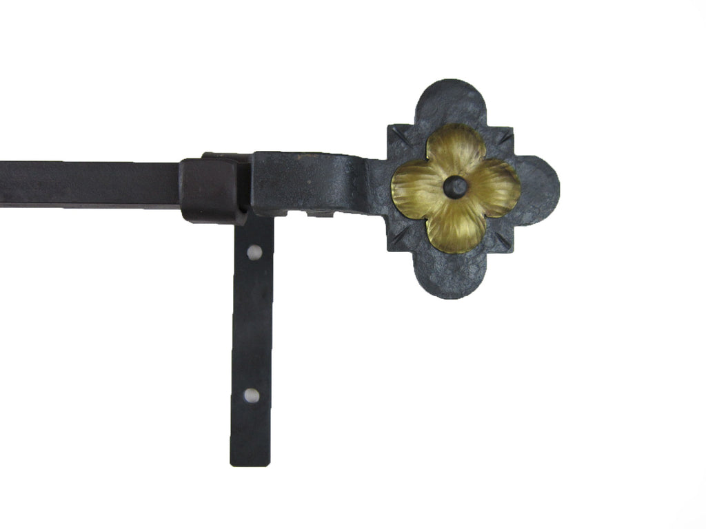 CRP12 Gothic dogwood flower curtain rod hardware complete window package - Bushere & Son Iron Studio Inc.