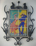 California tile Taylor dancers in wrought iron frame - Bushere & Son Iron Studio Inc.
