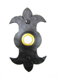 D2 Spanish style fleur de lis hammered wrought iron doorbell cover - Bushere & Son Iron Studio Inc.