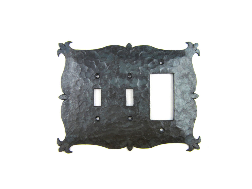 Rustic Mediterrranean Hammered Iron Switch Plate Cover Triple Toggle/GFI EP1