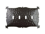 Rustic Mediterranean Iron Switch Plate Cover 4 Toggle Quad EPH141 - Bushere & Son Iron Studio Inc.