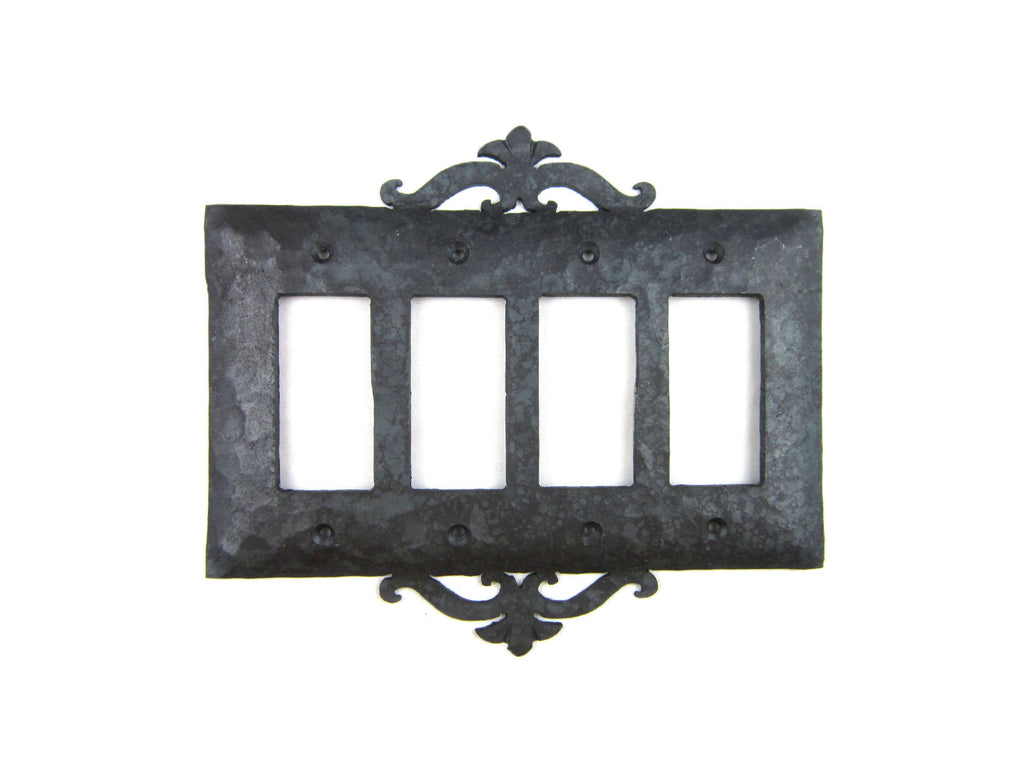 Rustic Spanish Revival Scroll Iron Switch Plate Cover 4 Gang GFI Decora Quad EPH