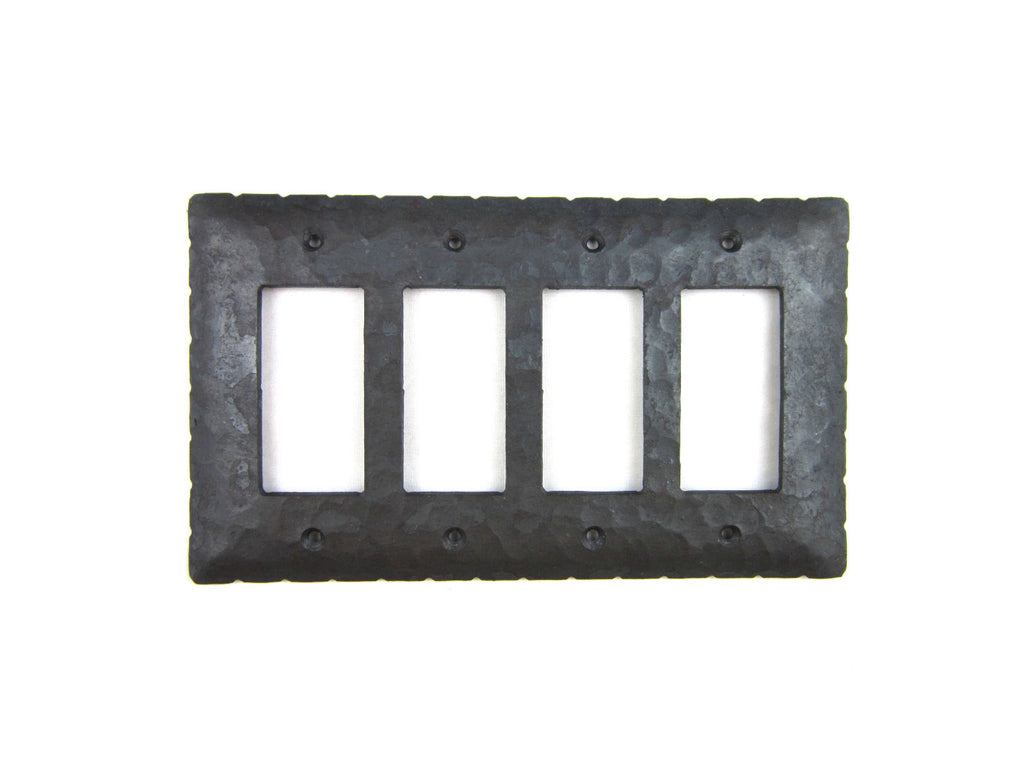 Rustic Rancho Style Iron Switch Plate Cover 4 Gang GFI Decora Quad EPH145