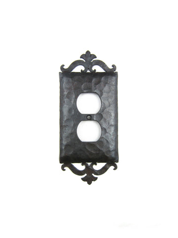 Spanish Revival Hammered Iron Double Switch Plate Double Duplex EPH38