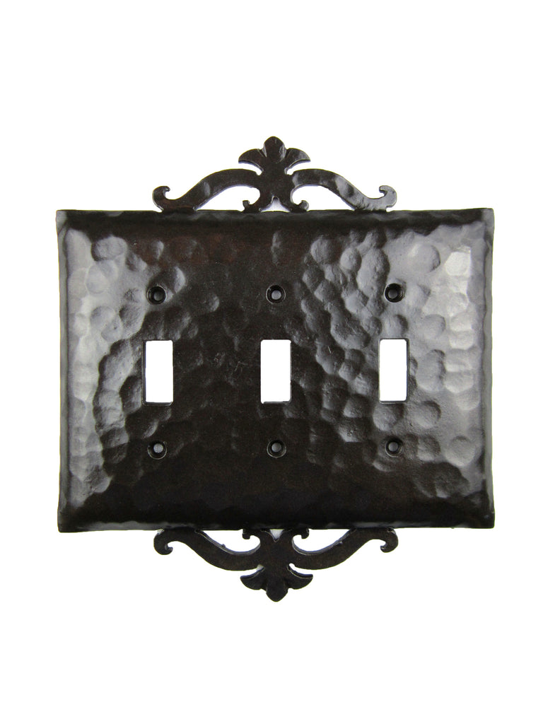 EPH231 Spanish Revival Iron Triple Switch Plate Toggle