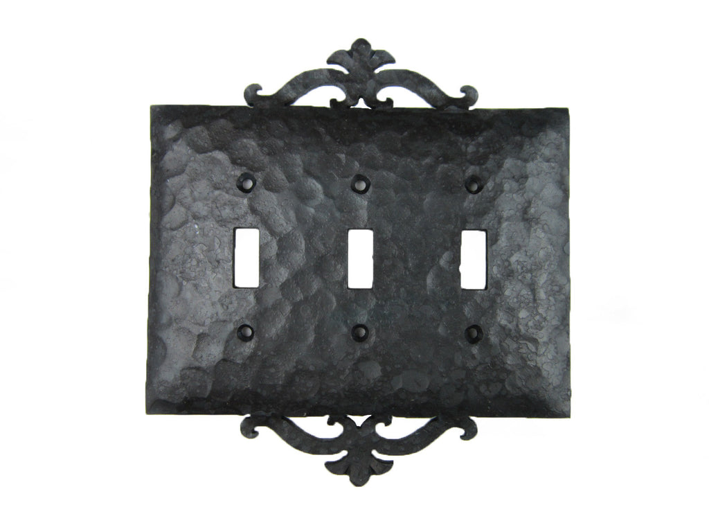Spanish Scroll Iron Triple Switch Plate Toggle EPH231 - Bushere & Son Iron Studio Inc.