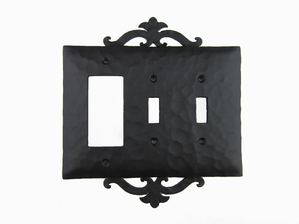 EP2 Series Spanish Revival Iron Triple Switch Plate Toggle and GFI Mix