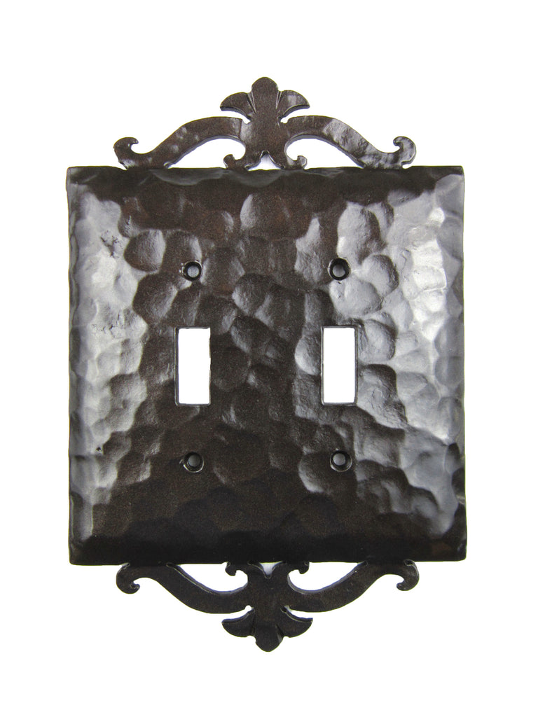EPH24 Spanish Revival Scroll Iron Switch Plate Double Toggle