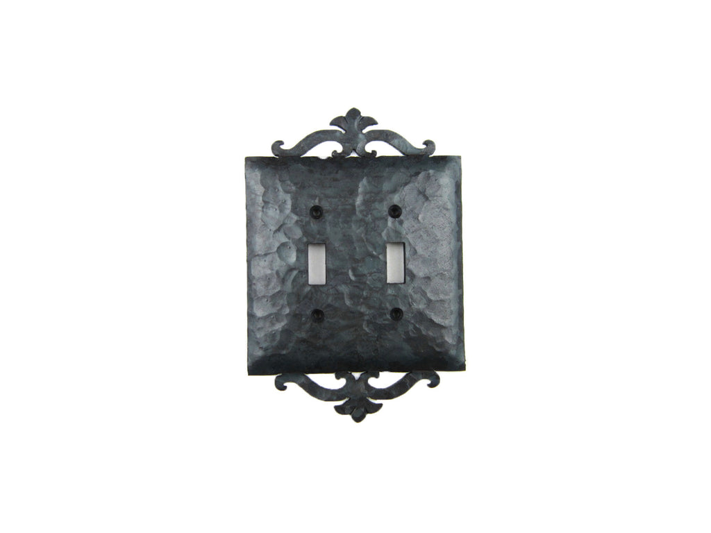 EPH24 Spanish Revival Scroll Iron Switch Plate Double Toggle - Bushere & Son Iron Studio Inc.