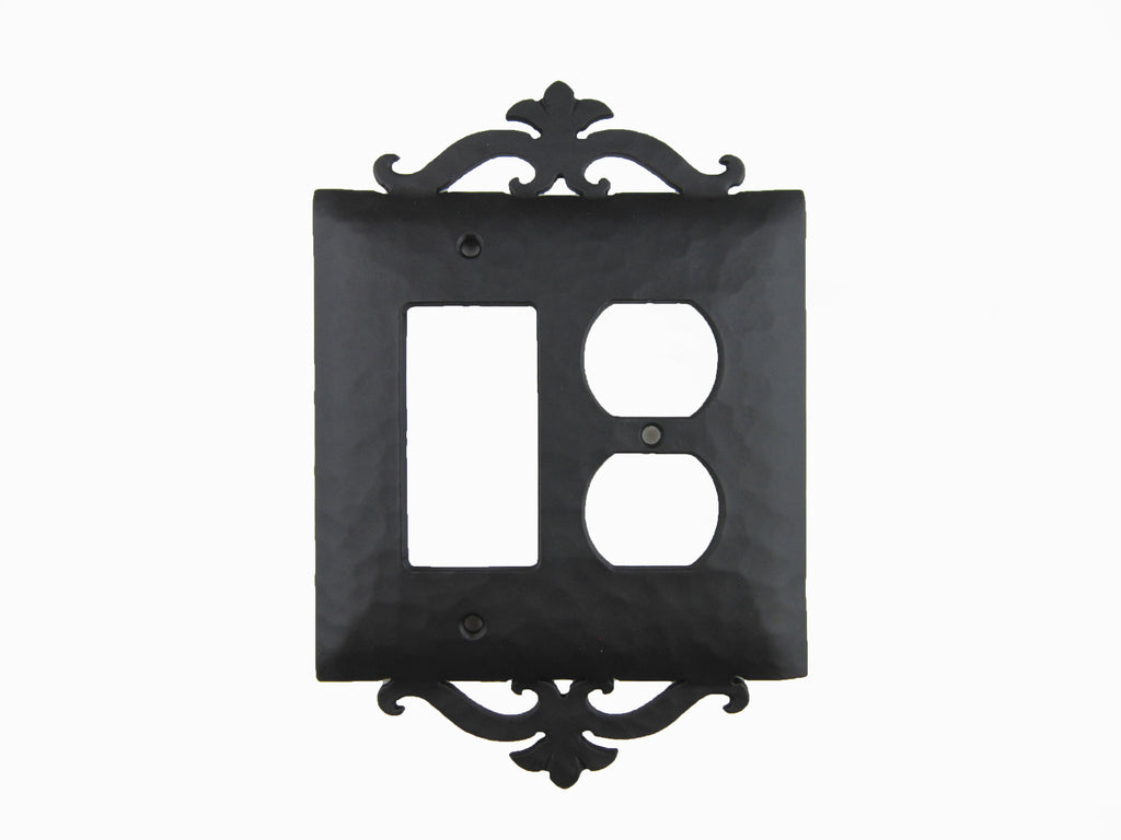 EPH29 Spanish Revival Scroll Iron Switch Plate Duplex/GFI