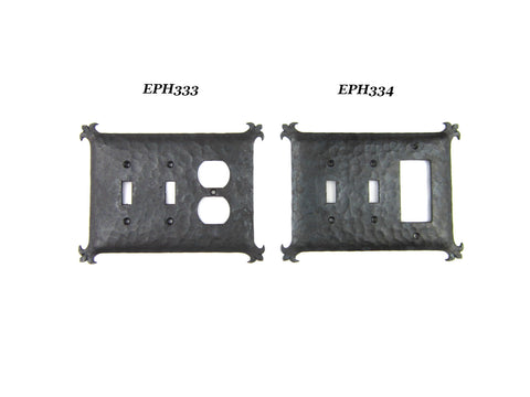 Mediterranean Rustic Iron Double Switch Plate Toggle EPH14