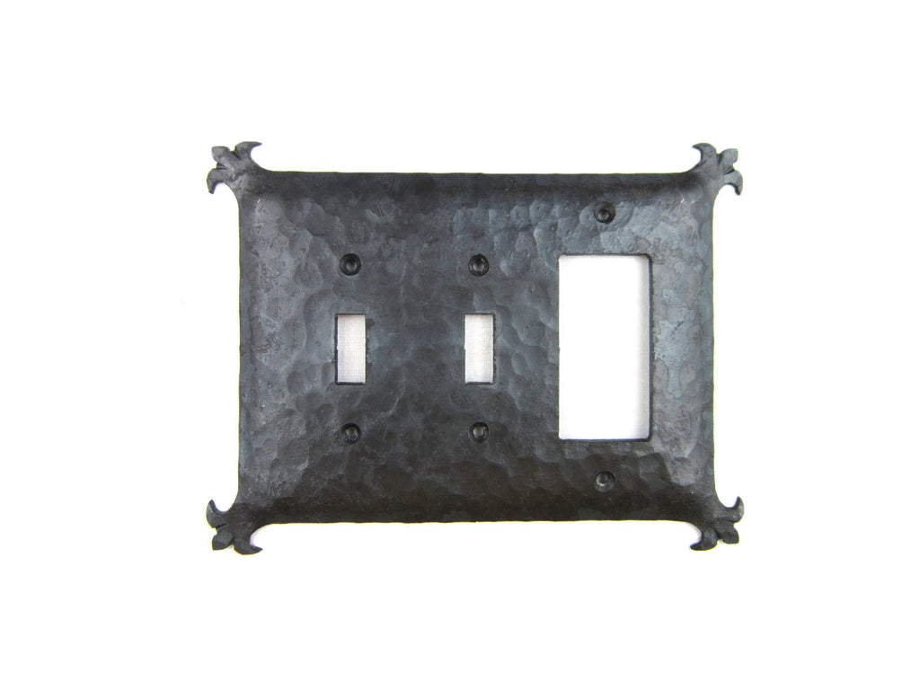 Rustic Spanish Revival Hammered Iron Switch Plate Cover Triple Variety EP3