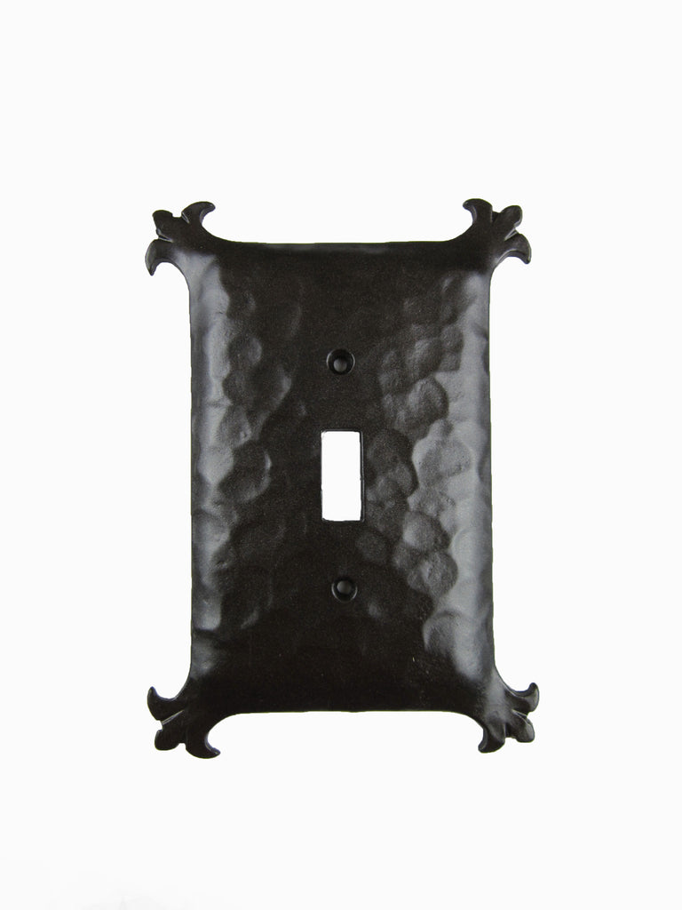 Spanish Revival Hammered Iron Switch Plate Cover Single Toggle EPH3 - Bushere & Son Iron Studio Inc.