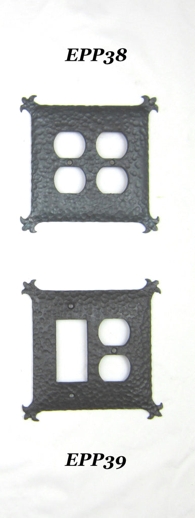 EPP38 or EPP39 Spanish Revival Iron Double Switch Plate - Bushere & Son Iron Studio Inc.