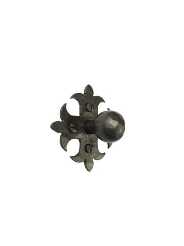 Rustic Spanish Fleur De Lis Cross Round Hammered Iron Cabinet Pull 4 inch HPBH4