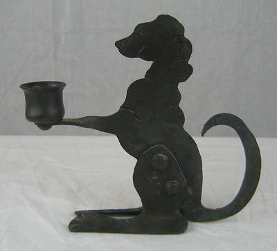 wrought iron dog candlestick