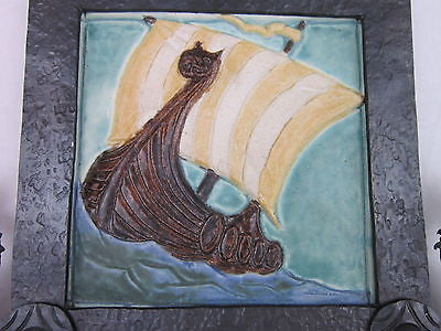 Viking ship tile in wrought iron frame