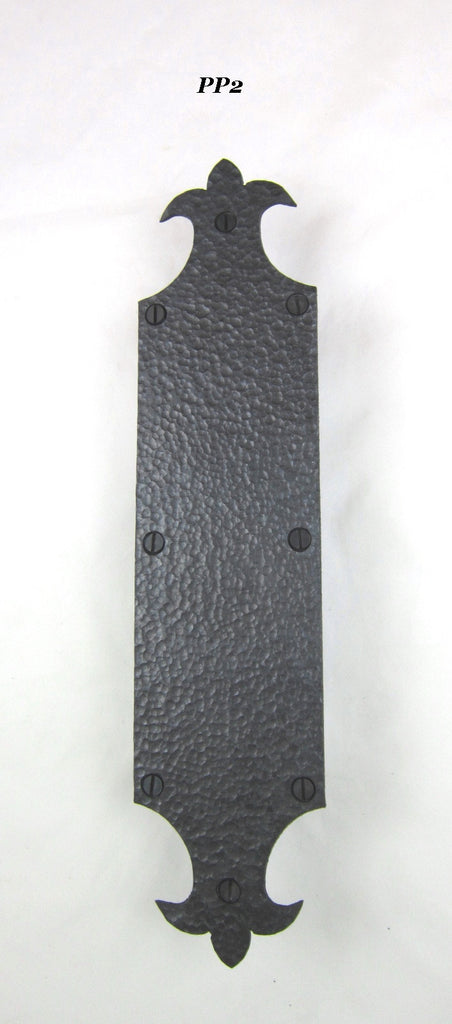 PP series Spanish Revival fleur de lis door push plate - Bushere & Son Iron Studio Inc.