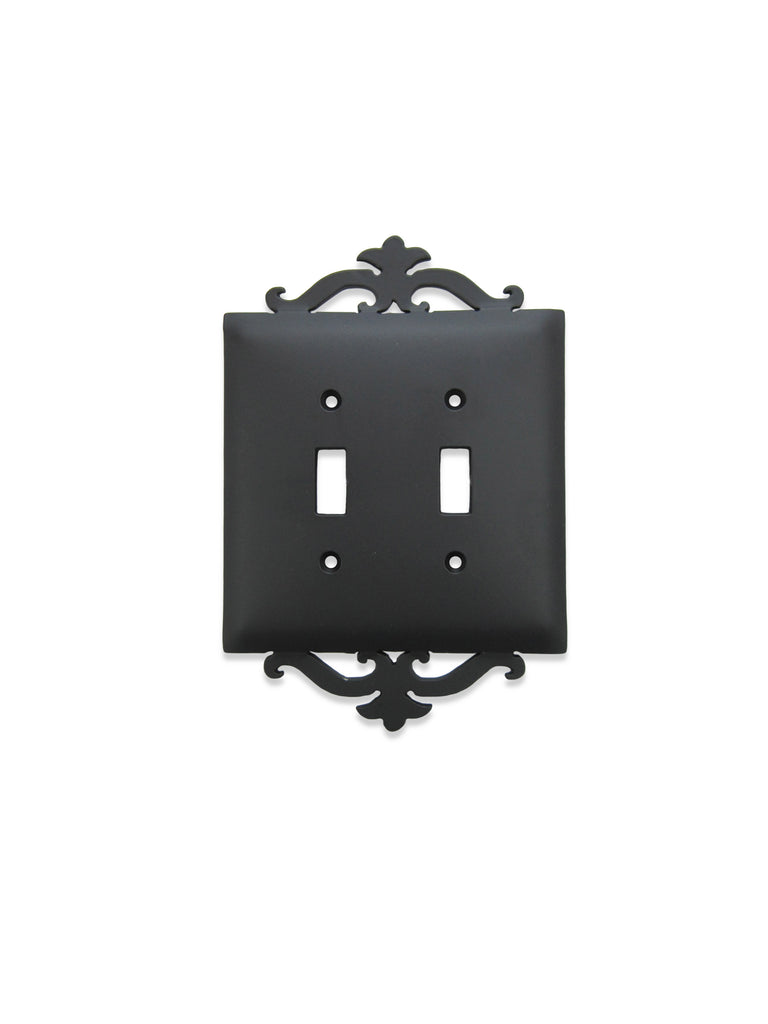 Classic Spanish Scroll Iron Double Toggle Switch Plate SEPH24 - Bushere & Son Iron Studio Inc.